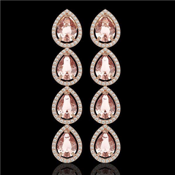 10.4 ctw Morganite & Diamond Micro Pave Halo Earrings 10k Rose Gold - REF-259A3N