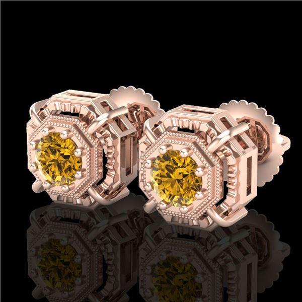 1.11 ctw Intense Fancy Yellow Diamond Art Deco Earrings 18k Rose Gold - REF-158X2A