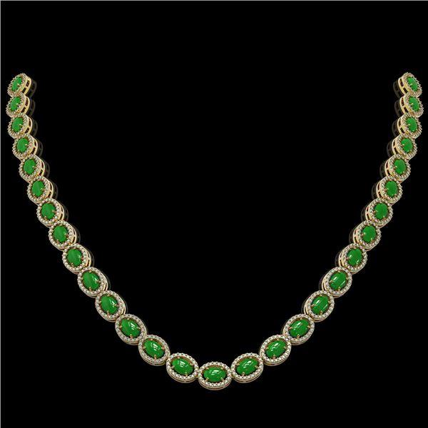 34.11 ctw Jade & Diamond Micro Pave Halo Necklace 10k Yellow Gold - REF-617Y6X
