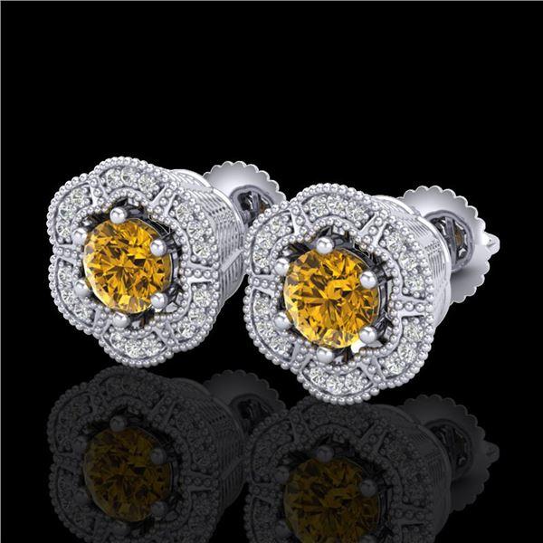 1.51 ctw Intense Fancy Yellow Diamond Art Deco Earrings 18k White Gold - REF-247F3M
