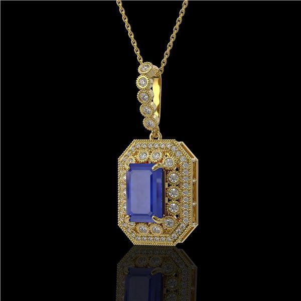 7.18 ctw Sapphire & Diamond Victorian Necklace 14K Yellow Gold - REF-172Y8X