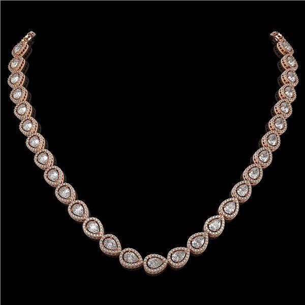 28.74 ctw Pear Cut Diamond Micro Pave Necklace 18K Rose Gold - REF-3951F8M