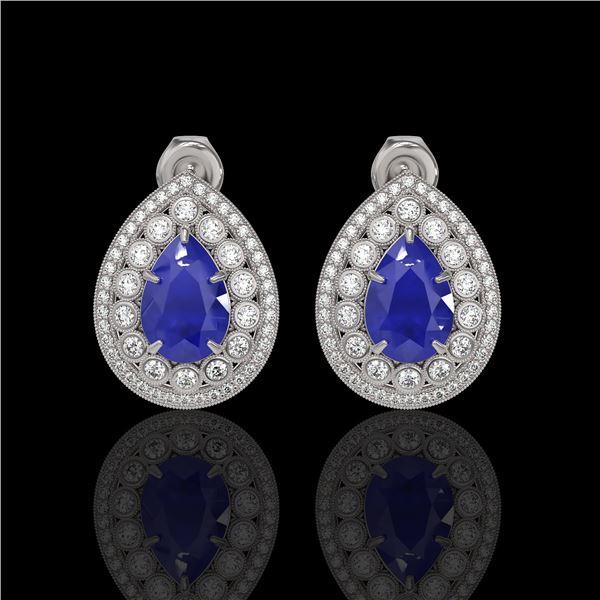 9.74 ctw Certified Sapphire & Diamond Victorian Earrings 14K White Gold - REF-247H5R