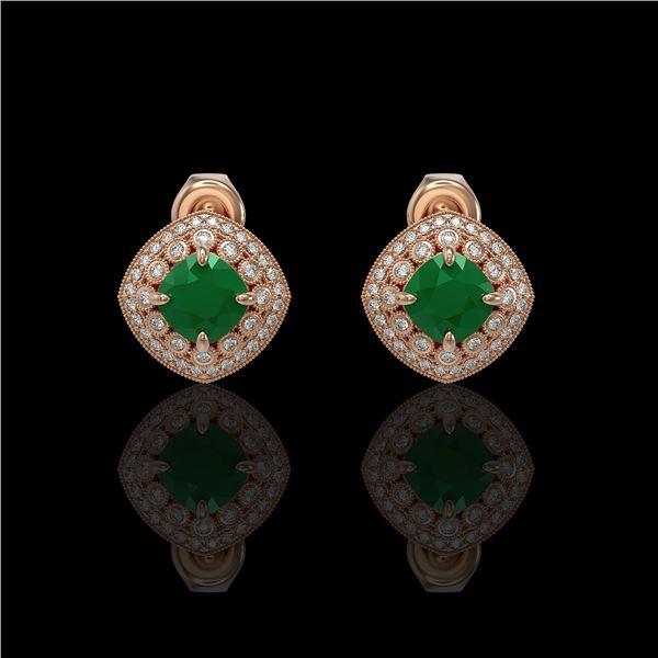 4.99 ctw Certified Emerald & Diamond Victorian Earrings 14K Rose Gold - REF-128X5A