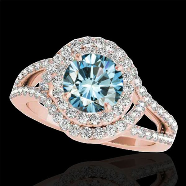 1.9 ctw SI Certified Fancy Blue Diamond Solitaire Halo Ring 10k Rose Gold - REF-156A8N