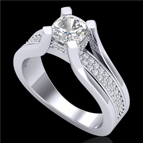 1.7 ctw Cushion VS/SI Diamond Solitaire Micro Pave Ring 18k White Gold - REF-472Y8X