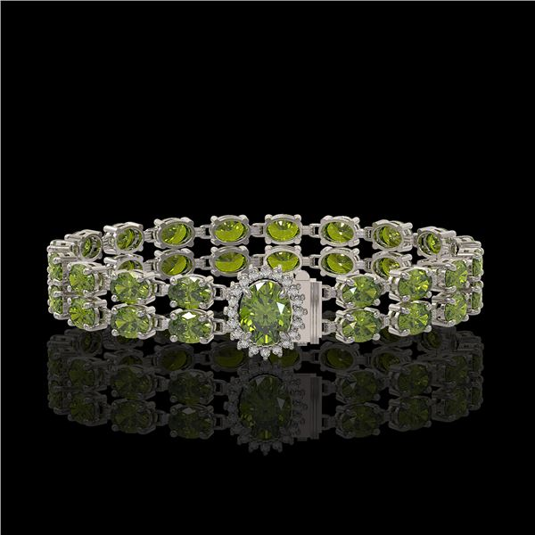 16.97 ctw Tourmaline & Diamond Bracelet 14K White Gold - REF-263X6A