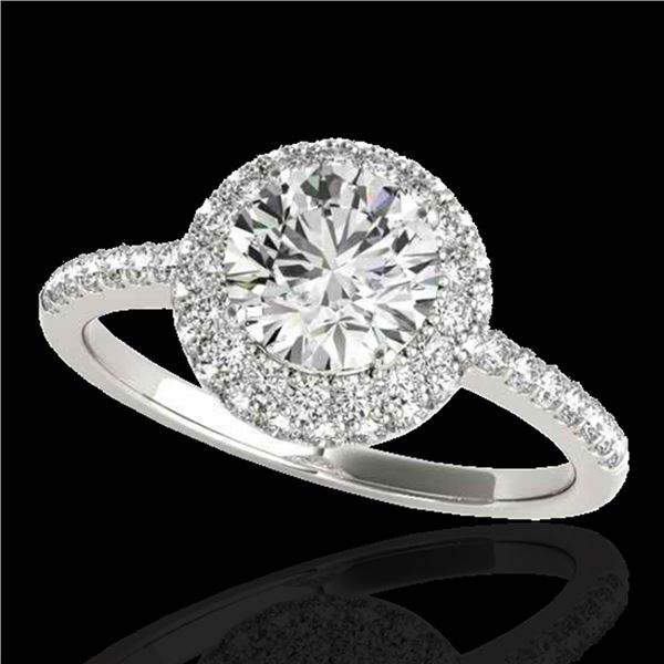 1.6 ctw Certified Diamond Solitaire Halo Ring 10k White Gold - REF-203X2A