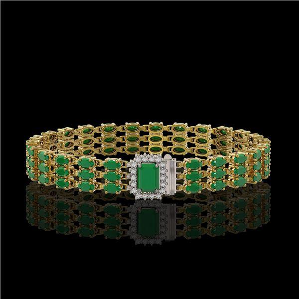 28.74 ctw Emerald & Diamond Bracelet 14K Yellow Gold - REF-318H2R