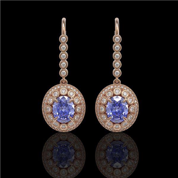9.47 ctw Tanzanite & Diamond Victorian Earrings 14K Rose Gold - REF-315K6Y