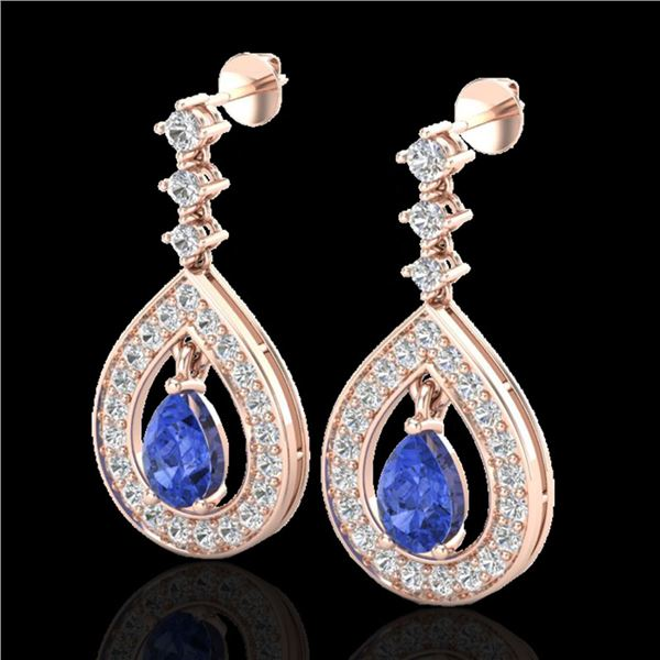 2.25 ctw Tanzanite & Micro Pave VS/SI Diamond Earrings 14k Rose Gold - REF-109M3G