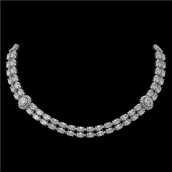 29.98 ctw Rare Oval Diamond Necklace 18K White Gold - REF-3584F9M