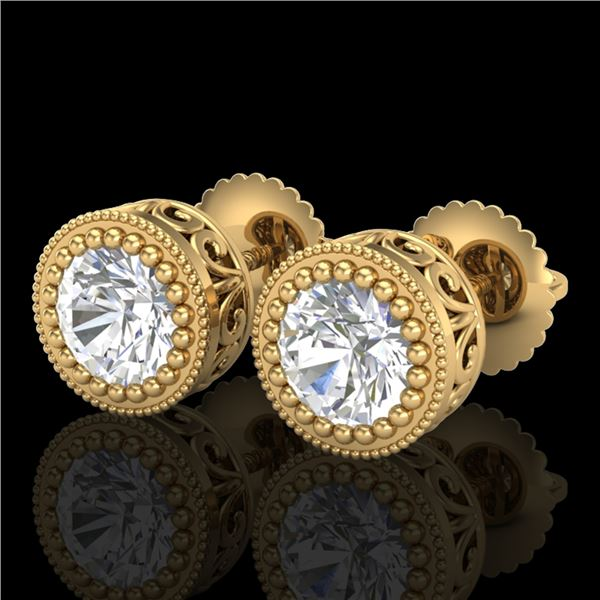1.09 ctw VS/SI Diamond Solitaire Art Deco Stud Earrings 18k Yellow Gold - REF-202M8G