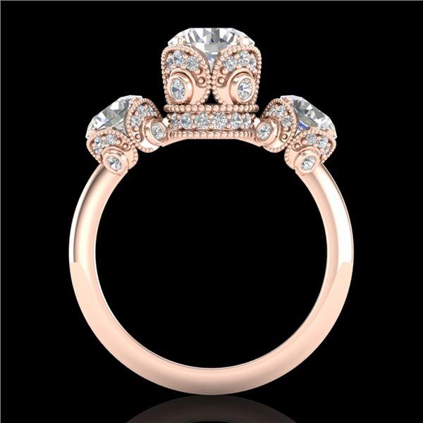 3 ctw VS/SI Diamond Art Deco 3 Stone Ring 18k Rose Gold - REF-649G3W