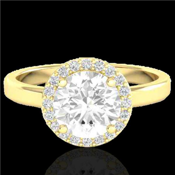 1.75 ctw Halo VS/SI Diamond Certified Micro Pave Ring 18k Yellow Gold - REF-490W9H