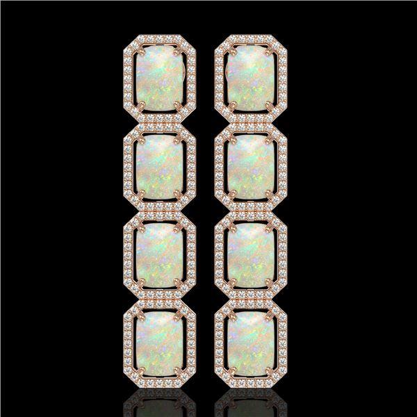 12.99 ctw Opal & Diamond Micro Pave Halo Earrings 10k Rose Gold - REF-236R4K