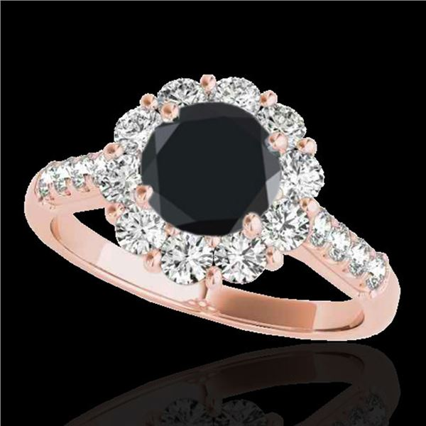 2.75 ctw Certified VS Black Diamond Solitaire Halo Ring 10k Rose Gold - REF-89R8K