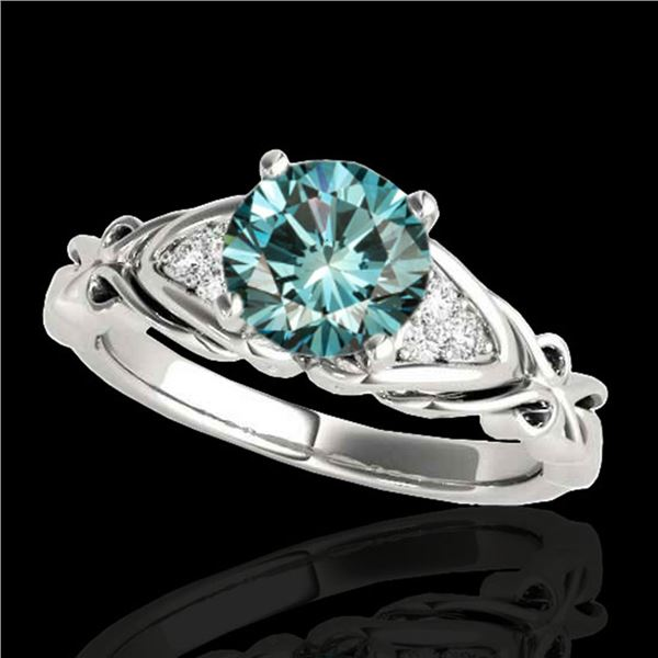 1.1 ctw SI Certified Fancy Blue Diamond Solitaire Ring 10k White Gold - REF-121Y4X