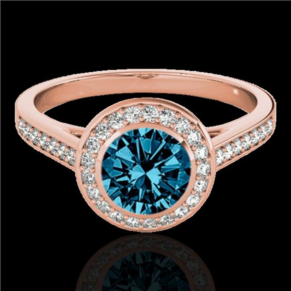 1.3 ctw SI Certified Fancy Blue Diamond Solitaire Halo Ring 10k Rose Gold - REF-126A3N