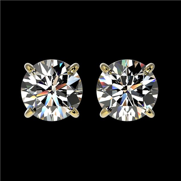1.59 ctw Certified Quality Diamond Stud Earrings 10k Yellow Gold - REF-127R5K