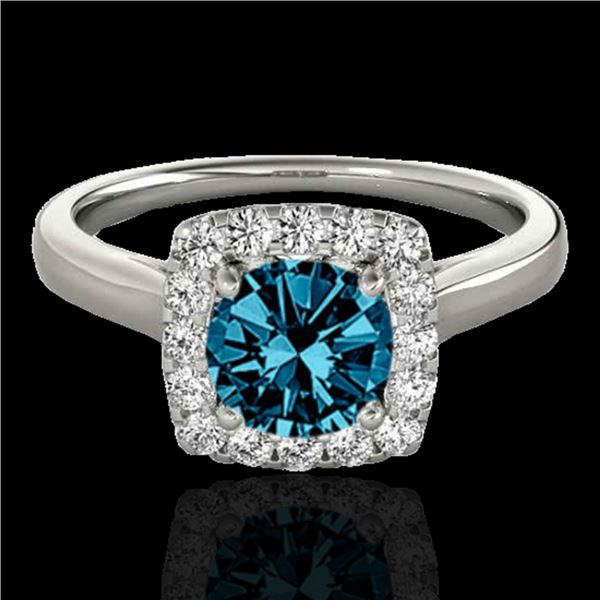 1.37 ctw SI Certified Fancy Blue Diamond Halo Ring 10k White Gold - REF-150A2N