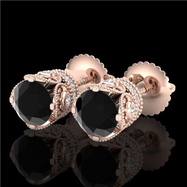 1.85 ctw Fancy Black Diamond Art Deco Stud Earrings 18k Rose Gold - REF-107H3R
