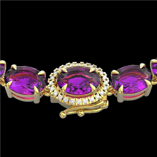 72 ctw Amethyst & VS/SI Diamond Micro Pave Necklace 14k Yellow Gold - REF-281H8R