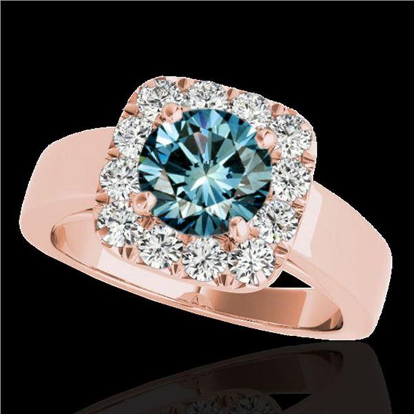 1.55 ctw SI Certified Fancy Blue Diamond Halo Ring 10k Rose Gold - REF-130H9R