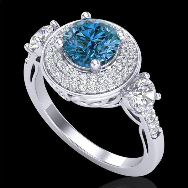 2.05 ctw Intense Blue Diamond Art Deco 3 Stone Ring 18k White Gold - REF-300M2G