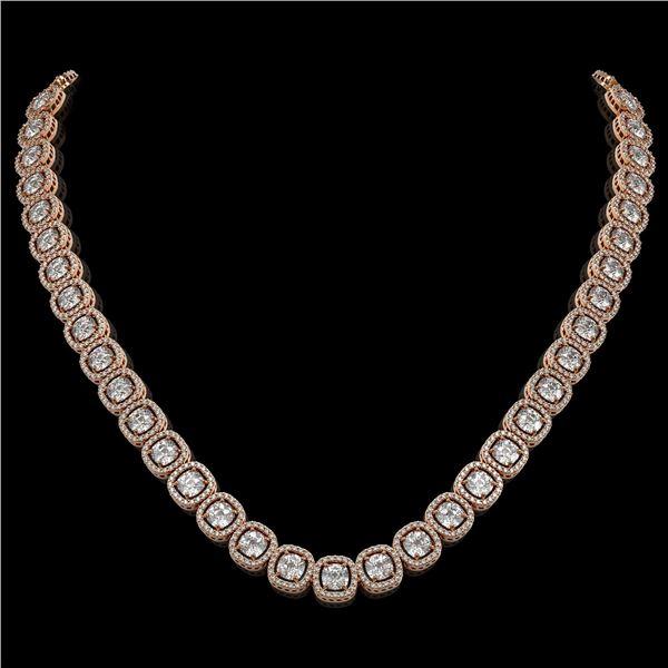 32.64 ctw Cushion Cut Diamond Micro Pave Necklace 18K Rose Gold - REF-4475R8K