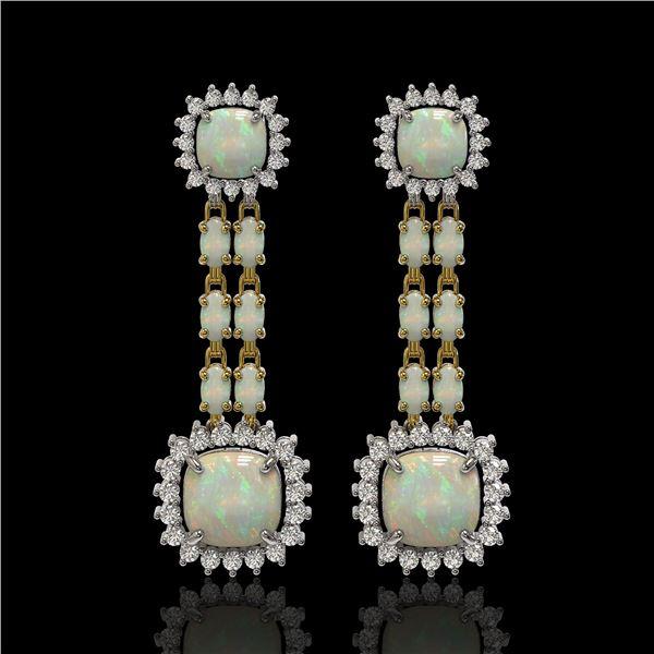 18.06 ctw Opal & Diamond Earrings 14K Yellow Gold - REF-394K8Y