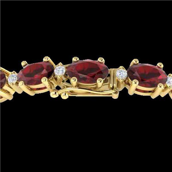 25.8 ctw Garnet & VS/SI Certified Diamond Eternity Bracelet 10k Yellow Gold - REF-119N3F