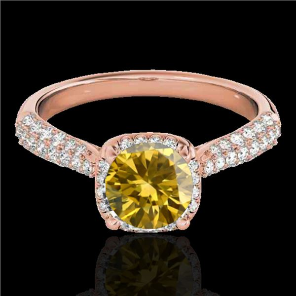 1.50 ctw Certified SI/I Fancy Intense Yellow Diamond Ring 10k Rose Gold - REF-204R5K