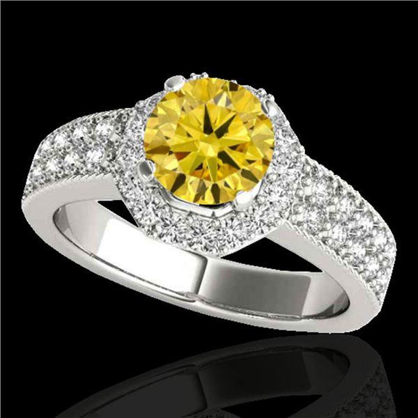 1.4 ctw Certified SI/I Fancy Intense Yellow Diamond Ring 10k White Gold - REF-204G5W