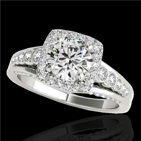 2 ctw Certified Diamond Solitaire Halo Ring 10k White Gold - REF-259Y3X