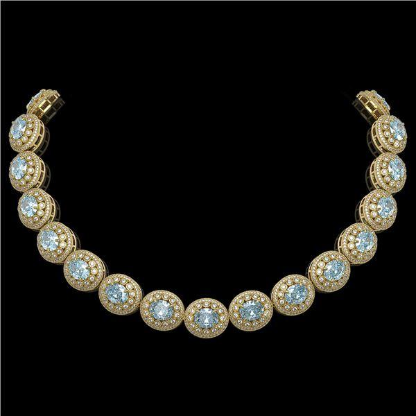90.5 ctw Aquamarine & Diamond Victorian Necklace 14K Yellow Gold - REF-3020G2W
