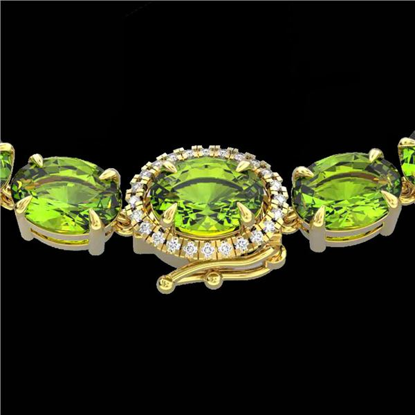 45.25 ctw Peridot & VS/SI Diamond Micro Pave Necklace 14k Yellow Gold - REF-345M5G