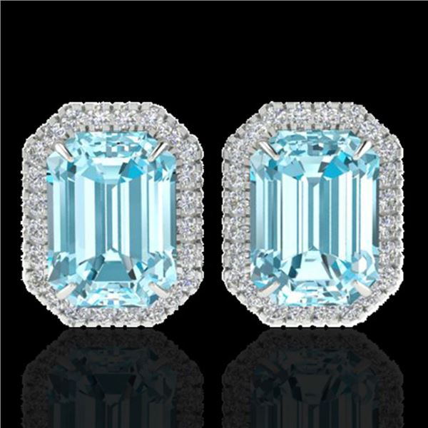 12 ctw Sky Blue Topaz & Micro Pave Diamond Earrings 18k White Gold - REF-87R3K