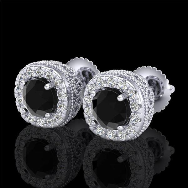 1.69 ctw Fancy Black Diamond Art Deco Stud Earrings 18k White Gold - REF-121Y8X