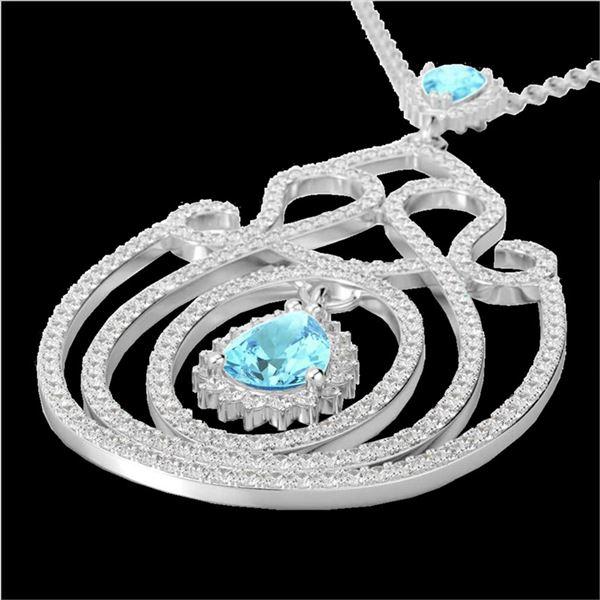 3.20 ctw Sky Blue Topaz & Micro Diamond Heart Necklace 14k White Gold - REF-212W8H