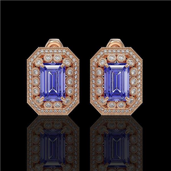 11.25 ctw Tanzanite & Diamond Victorian Earrings 14K Rose Gold - REF-672G8W