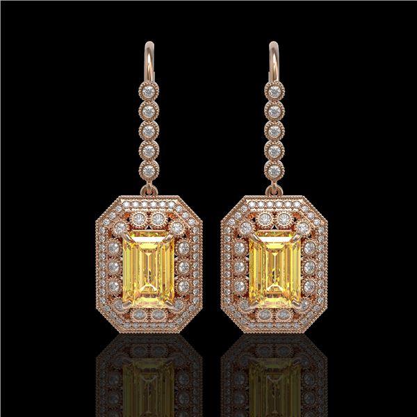 11.44 ctw Canary Citrine & Diamond Victorian Earrings 14K Rose Gold - REF-243R5K