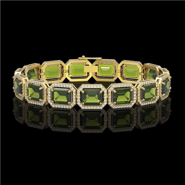 36.51 ctw Tourmaline & Diamond Micro Pave Halo Bracelet 10k Yellow Gold - REF-477W3H