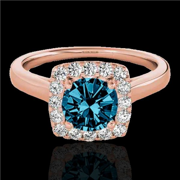 1.37 ctw SI Certified Fancy Blue Diamond Halo Ring 10k Rose Gold - REF-150F2M