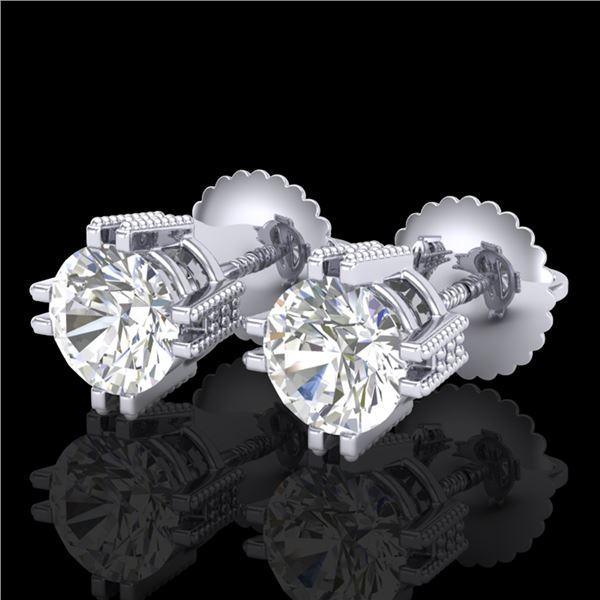 1.07 ctw VS/SI Diamond Solitaire Art Deco Stud Earrings 18k White Gold - REF-200M2G
