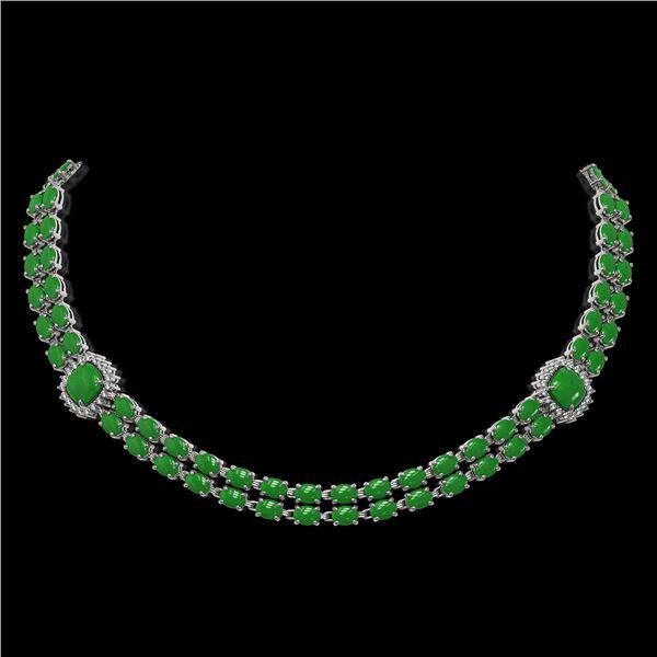 29.39 ctw Jade & Diamond Necklace 14K White Gold - REF-527F3M