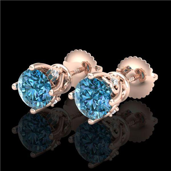 1.26 ctw Fancy Intense Blue Diamond Art Deco Earrings 18k Rose Gold - REF-133R3K