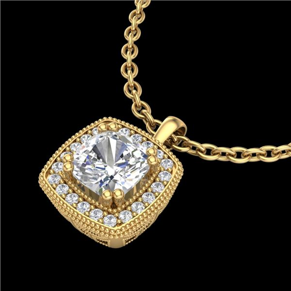 1.25 ctw Cushion VS/SI Diamond Art Deco Necklace 18k Yellow Gold - REF-337H5R