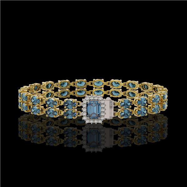 17.34 ctw London Topaz & Diamond Bracelet 14K Yellow Gold - REF-236G4W
