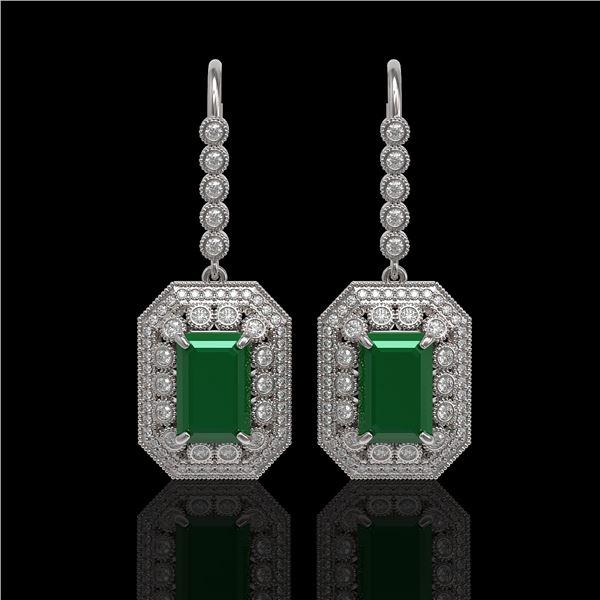14.16 ctw Certified Emerald & Diamond Victorian Earrings 14K White Gold - REF-345A5N
